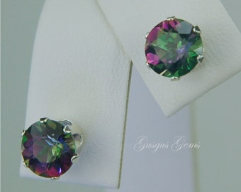 Rainbow Mystic Topaz 7mm 3.40ctw Sterling Silver Studs
