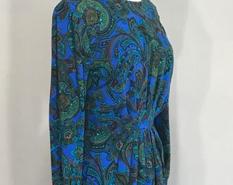 Paisley REO originals 80s paisley dres,  80s Paisley Dress,  Retro Blue Paisley Print Dress