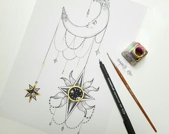 A4 Hanging Sun with Female Moon and a Galaxy Celestial Bohemian Drawing Art Print