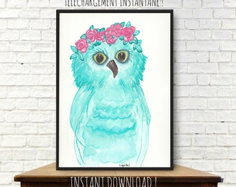 Instant download from a watercolor painting, illustration, owl painting, owl, woodland, nursery decor, owl watercolor, printable