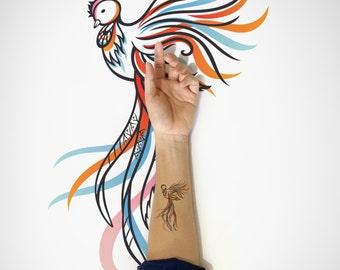Phoenix Temporary Tattoo / Bird Temporary Tattoo / Decorative Animal Temporary Tattoo /Cute bird temporary tattoo