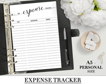 Printable EXPENSE TRACKER for your Personal, A5, Letter and Happy Planner Classic size_Black & White_BUDGET inserts_Money sheet Filofax