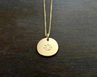 Gold Lotus Charm Necklace, 14K Gold Filled Round Pendant, Hand Stamped Lotus Flower Design, Half Inch Circle, Yoga Jewelry, E. Ria Designs