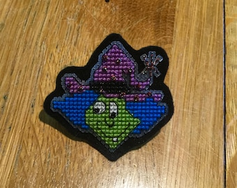 Witch Cross Stitch Brooch. Hand Embroidered.