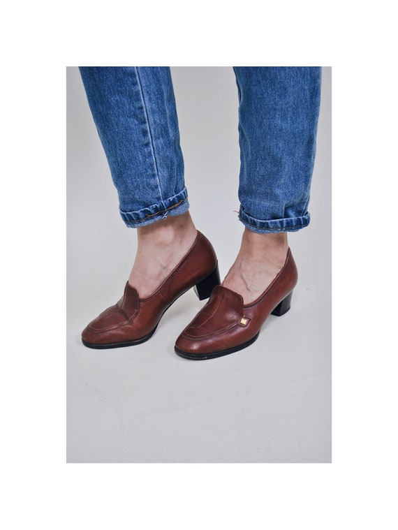 booties ankle shoes 90's women's retro casual shoes boots outfit shoes Suit Vintage shoes lether Size brown 80's moccasins heel 6wYqqtA