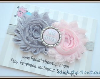Sister Headband, Little Sister, Big Sister, Baby Announcement, Pink Gray Silver Flower Heaband for Newborn, Baby, Toddler, Kid, Teens, Adult