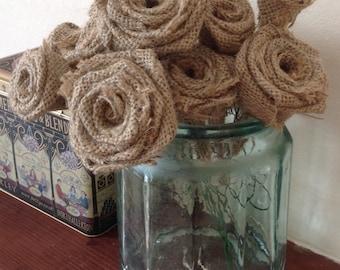 Hessian (Burlap) Roses on Stems x 10