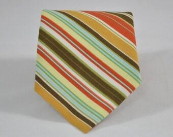 Boy's Necktie - Fall Stripe - Thanksgiving Tie - Orange and Olive Striped Tie