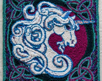 Unicorn Punch Needle Wool Tapestry