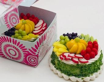 Miniature Fruit Cake with box,Miniature sweet,Dollhouse cake,Dolls and miniature