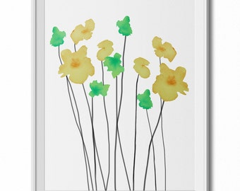 Green & Yellow Watercolor Flowers Wall Art Print - 8x10 PDF Instant Download