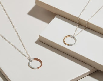 9ct Gold & Silver Two-tone Circle Necklace