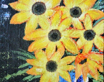 Original Abstract, modern art painting  Sunflowers in vase acrylic and impasto on canvas 50cm x 70cm x 17mm