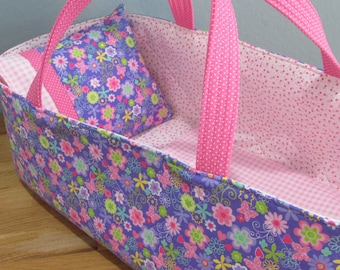Doll Carrier, Will Fit Bitty Baby and Wellie Wisher Dolls, Lavender and Pink Floral and Butterfly, 16 Inches Long