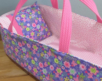 Doll Carrier, Will Fit Bitty Baby and Wellie Wisher Dolls, Lavender and Pink Floral and Butterfly, 16 Inches Long, Doll Basket