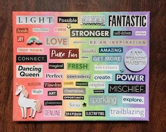Rainbow Unicorn Word Collage, Wall Art