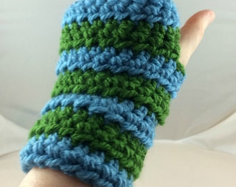 Light Blue and Spring Green Striped Crocheted Wrist Warmers (size S-M) (SWG-WW-SJ12)