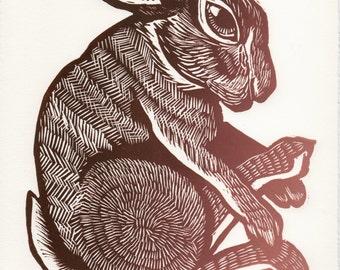 """Rabbit Linocut - """"Autumn Rabbit"""""""