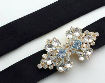 Stretch Belt Black Gold Rhinestone Buckle Clasp Skinny Waist Belt Spandex Elastic Belt Flower Girl Bridesmaid Prom Bridal Wedding Dress Gown