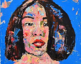 Palette Knife Woman Portrait Painting Print. Digital Wall Art Prints. Home Wall Decor.