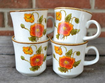 Four Mikasa, Natural Beauty, California Poppies Mugs, 1970s