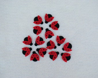 15 Piece Die Cut Felt Ladybugs