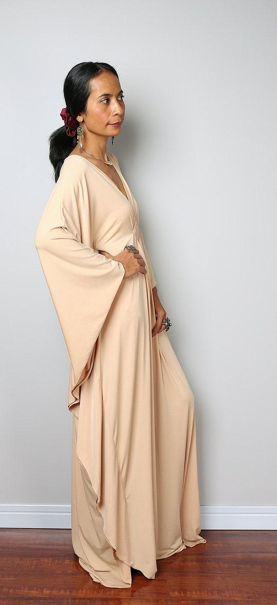 Robe beige caftan Beige clair Kimono robe papillon: Funky
