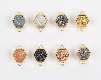 Wholesale Tiny Gold Plated Hexagon Rainbow Natural Titanium Crystal Druzy Connector Double Bails Small Drusy Gemstone Charm Jewelry ZG0138