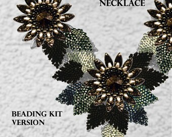 Kanzashi Flower Necklace - Beading KIT - version Evening