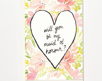 Will You Be My Maid of Honour? - Greetings Card, Bridal Card, Wedding Card