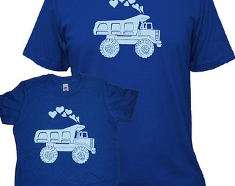 Valentines Matching Father Son Shirts, Dump Truck T shirts, gift, new dad shirt, father son, gift for dad, gift for dad son kids, set