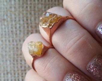 Citrine & Copper Electroformed Ring. Healing Metal Jewelry.