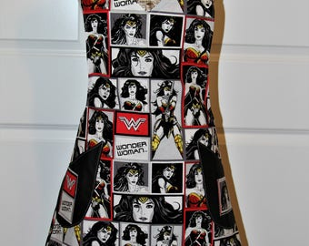 Wonder Woman Ladies Apron Black, Red and White Super Hero