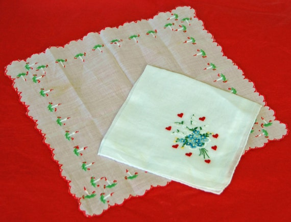 2 Vintage Holiday's HANDKERCHIEFS - HEART (Valentine) or DECEMBER, and Bouquet, Ca 1940/50's w/ Candles, Hearts, Chanukah -