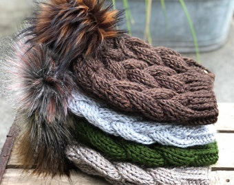 Braided Cable Beanie & Faux Fur Pom Pom Fitted Acrylic  Sequoia Dark Leaf Canyon Greyhound
