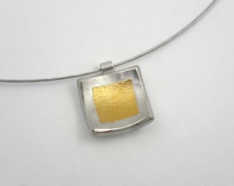 Square necklace made of gold and silver with textured surface, Hammered pendant, Simple geometric pendant, Textured pendant, Square pendant
