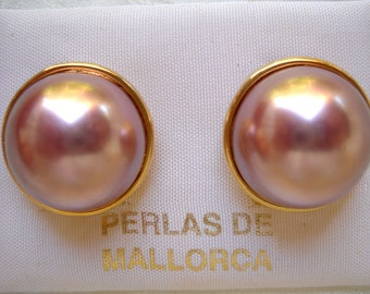 Mabe design Majorca/Mallorca Pearl earrings half pearl 16mm, 18mm dark pink, omega clip back gold filled, casual and weddings faux majorica