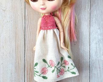 dress for Blythe, dress for Blythe doll, lilen dress, вышитое платье