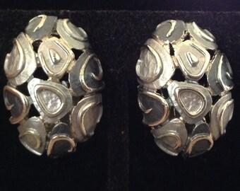 Hobe Silver Tone Gun Metal Enamel Dome Clip On Earrings