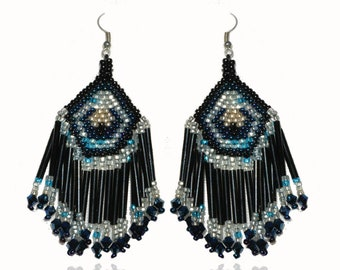 Ethnic beaded earrings black and blue