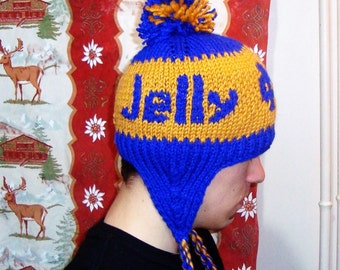 Personalized Notre Dame Hat with Jelly Winter Hat with Ear Flap in Blue Gold Hand Knit Hat Graduation Gift for Men, Women
