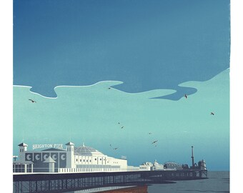 Brighton Pier retro print (a3)