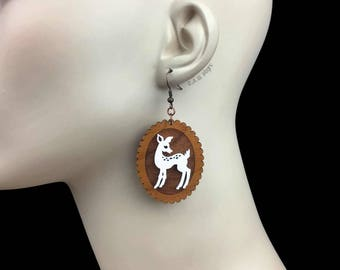 READY MADE SALE - Doe-Eyed Deer Earrings - Cherry Wood & White Acrylic Laser Cut Earrings (C.A.B. Fayre Original Design)