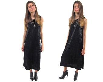 Vintage 90s Velvet Tent Dress, Minimalist Dress, Trapeze Dress, Oversized Dress, Crush Velvet Midi Dress Δ fits sizes: xs / sm / m