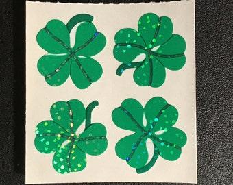 Sandylion Stickers Scrapbooking vintage Green clover leaf, leaves   (1 mod)