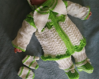 Hand knit baby girl home coming outfit