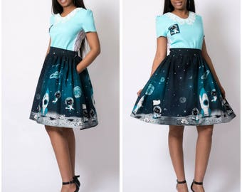 Cute retro astronaut space cat gathered novelty skirt with pockets