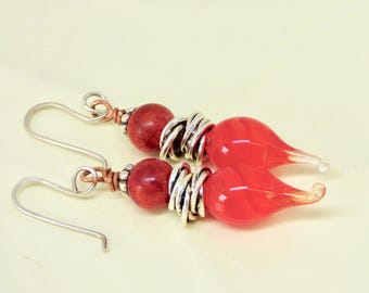 Modern Red Earrings, Red and Silver Earrings, Red Lampwork Earrings, Red Lampwork Jewelry, Red Mothers Day Earrings, Birthday Gift for Her