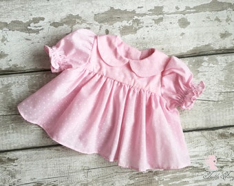 Pink polka dot baby dress, Vintage style pink baby dress, Baby girls clothes, Frill baby dress, Handmade baby clothes, Baby shower gift