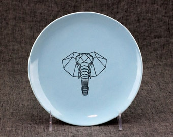 Hand Painted Plate with Faceted Elephant - 8in Diameter